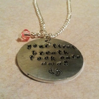 First breath hand stamped necklace perfect mummy/mommy gift
