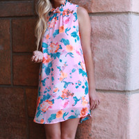 High Neck Pink Floral Dress