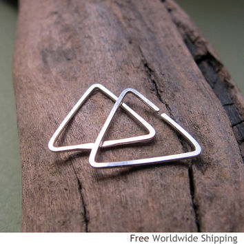 Small Triangle Hoop Earrings - Sterling Silver Cartilage, Tragus, Helix earrings - Male Earrings - Triangle Earrings - Minimalist Earrings