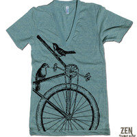 Unisex SPARROWS on a BIKE Deep V Neck Shirt