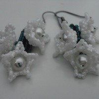 White Beaded Flower Earrings