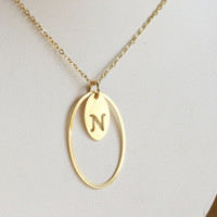 Initial Necklace gold Personalized Necklace Bridesmaid Gifts gift for her Personalized jewelry monogram jewelry gift under 30 oval unique