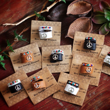 FREE SHIPPING, A set of an adjustable peace sign leather ring and a beaded ring,black,brown,white,Native American inspired,hippie,boho