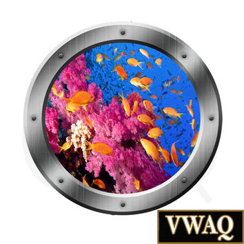 Wall Decal Porthole Ocean View Sea Life Kids Stickers Wall Art Portal Decal PO24