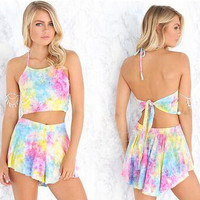 Rainbow Tie Dye Top and Shorts Two Piece Set