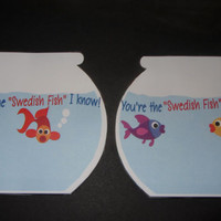KIDS Birthday Favor,Birthday party favor,Fish Bowl Favor,Swedish Fish,School treat,Bags and ties included
