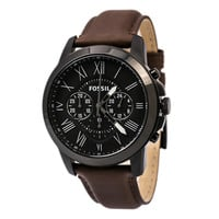 Fossil FS4885 Men's Grant Casual Black Dial Black IP Steel Brown Leather Strap Chronograph Watch