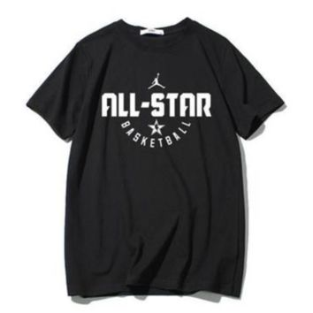 NIKE Jordan New fashion hook letter print couple top t-shirt Black