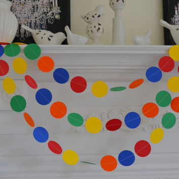 Any occasion garland - Paper Cirlce Garland10 ft, Primary Colors, Blue, Orange, Red, Green, Yellow, Party Decorations
