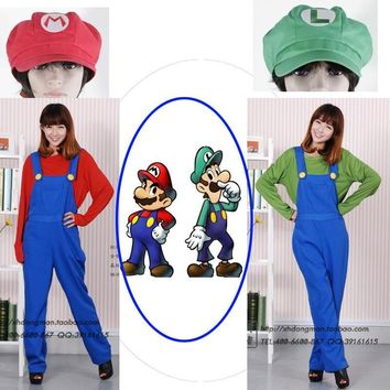 Super Mario party nes switch Fancy Dress  Bros Luigi Adult / Children  Cosplay Costumes for Halloween Christmas AT_80_8