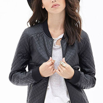 Black Quilted Detail PU Bomber Jacket