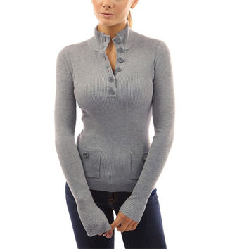 Turtleneck Pocket Pullover Sweater