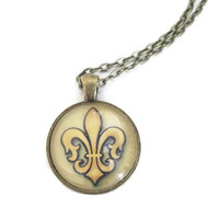 Fleur de Lis necklace photo pendant charm in gold and black, antiqued brass setting with rolo chain, glass dome jewelry