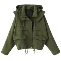 Olive Green Pocket Long Sleeve Loose Hooded Coat - Choies.com