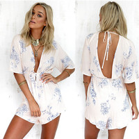 New summer Sexy Women Backless Floral Party Jumpsuit Playsuit Bodycon Romper