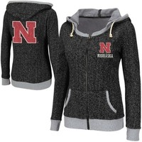 Nebraska Cornhuskers Ladies Slope Full Zip Hoodie - Charcoal