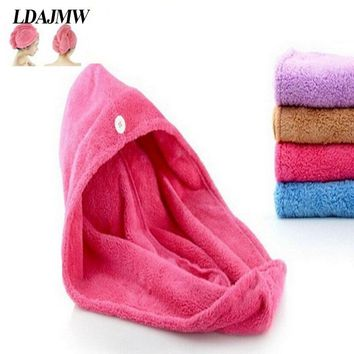 LDAJMW High quality Womens Girls Lady's Magic Quick Dry Bath Hair Drying Towel Head Wrap Hat Makeup Cosmetics Cap Bathing Tool