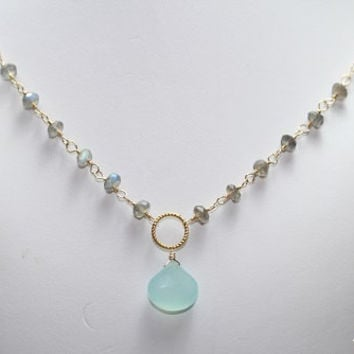 Aqua Chalcedony Necklace, Labradorite Rosary, Wire Wrapped on 14k Gold Filled, Blue Green Grey Pendant Gemstone Jewelry