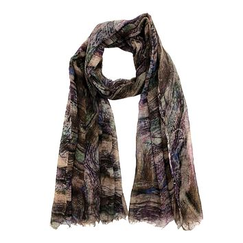 Tartan thin Wool scarf | Cashmere wool | Full size with trimmed edges