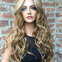 Dark Blond Balayage Human Hair Multi Parting long wavy lace front wig 24""