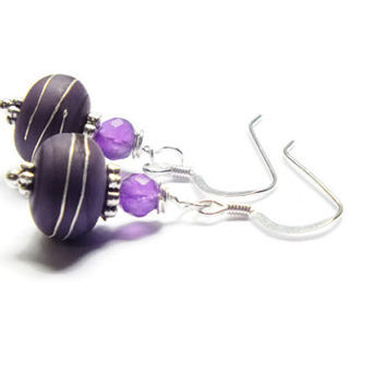 Amethyst Earrings, Sterling Silver Amethyst Earring Dangles, Purple Earrings, Lampwork Earrings
