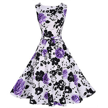 Women's Vintage Print Party Dress