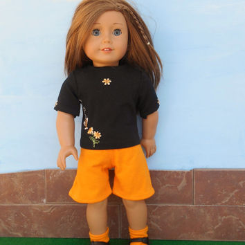 American Girl Doll Clothes, Orange Shorts, Black Shirt with Bumble Bees, Socks, Summer Doll Clothes, fits 18 Inch Dolls, OOAK