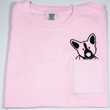 Comfort Colors Pocket Tee with Corgi Dog Coming Out of Pocket