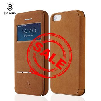 Baseus Smart Window Flip Case For iPhone 5s 5 SE Cases Retro Magnetic Flip Leather Case For iPhone 5s 5 SE Phone Cover Shell
