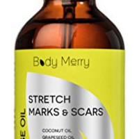 Body Merry Oil for Stretch Marks & Scars - 6 Naturally Powerful Oils - Works for Old or New Marks from Pregnancy, Body Building or Growth Spurts + Dry Hands, Cuticles or Feet - #GetHappyAboutYourSkin