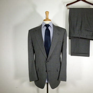 Vintage Mens suit, vintage clothing 80's by Kingsridge for Leonards Two Piece Two Button Classic Grey Glen Plaid  with Orange and Blue 44