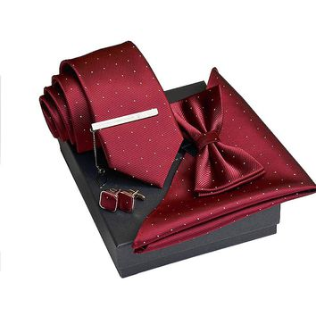 Ties Set with Cufflink  Pocket Square Tie Clip and Tie
