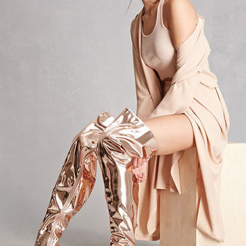 Metallic Thigh-High Boots