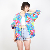 Vintage Silk Bomber Jacket New Wave Abstract Print Windbreaker Jacket Neon Striped Mod Geometric Print Wind Breaker 1980s 80s M L Large XL