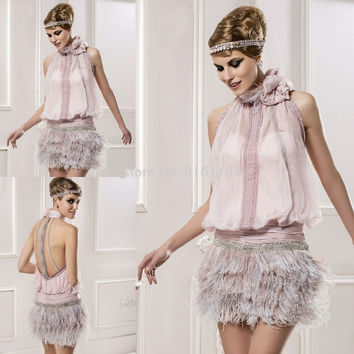 Romatic Sexy Mini Short Lady Formal Dress Halter Beaded Backless Pink Feather Exotic Cocktail Dresses