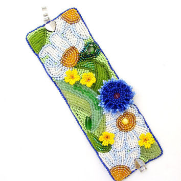 "Bracelet handmade beaded ""Summer in the village.""  Bracelet in the art of beadwork. Bracelet with embroidery."