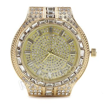 Iced Out Simulated Diamond Round Stone Gold Silver Plated Hip Hop Bling Watch 24