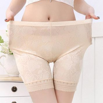 Comfortable Seamfree Lace-trim Jacquard Stretchy Breathable Boyshorts For Women