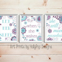 Girl Nursery Decor Purple Teal Nursery Art Let Her Sleep She will Move Mountains Baby Girl Wall Decor Childrens Quote Set of 3 Prints