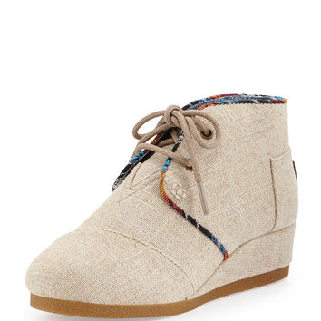 Burlap Desert Wedge Boot, Natural, Youth - TOMS - Natural