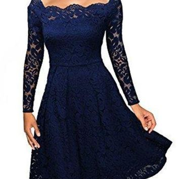 LMFON Temperament Elegant Off Shoulder Long Sleeve Solid Color Hollow Lace Ruffle Mini Dress