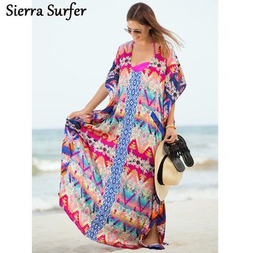Kaftan Beach Cover Up Beachwear Robe De Plage Swimwear Women Towel Swimsuit Summer Dress Color Chiffon Flower Skirt Blouse