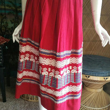 50's Guatemalan Embroidered Skirt by La Regional, Red Guatemalan Skirt, Vintage Hand Woven Guatemalan Skirt, Ethnic Embroidered Skirt, MD