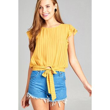 Ladies fashion short ruffle sleeve round neck front self tie hem w/back button woven top