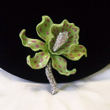 Kenneth J Lane KJL Designer Signed Large Spotted Tiger Lily Orchid Flower Pin/Brooch: Book Piece