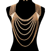 Bling RHINESTONE DRAPE BACK DROP LINK CHAIN Statement GOLD Necklace & Earrings