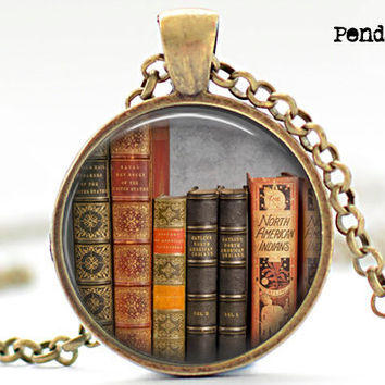 Book necklace pendant, old books, book,book self, gifts for book lover, antique yellow paper ,resin, glass cabochon, bronzeoks,