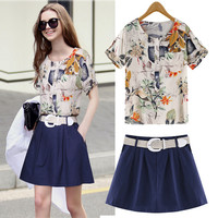 Floral Print Blouse And Navy Pleated Shirt With Belt