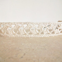 Cream Off White Crochet Lace Headband Vegan Weddings Bridal Head Piece Art Deco Romantic Boho