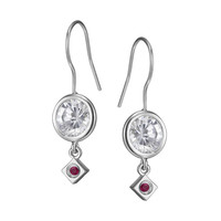 WHITE LIGHTS Eurowire Earrings - Fashionable Sterling Silver and CZ